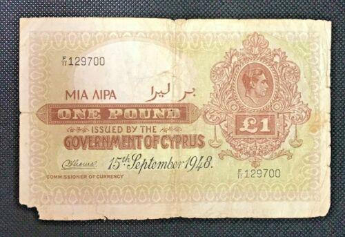 GOVERNMENT OF CYPRUS BRITISH ADM. 1 POUND 1948 F KING GEORGE V