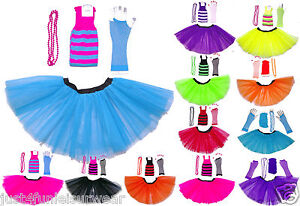 3-LAYER-TUTU-SKIRT-SET-LEGWARMERS-FISHNET-GLOVES-BEAD-NECKLACE-NEON-PARTY