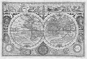 map of the OLD world globe large decor poster new Antique vintage drake 1628