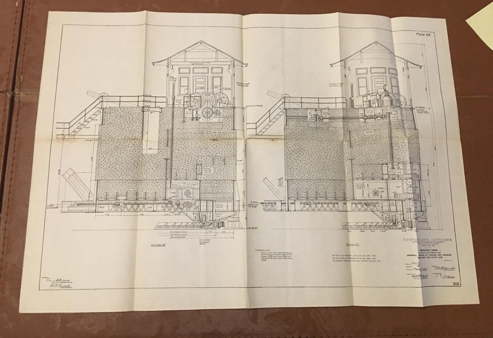 1910 Panama Canal Diagram Emergency Dams Turning  Wedging Machinery Short Arm