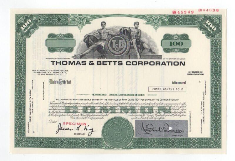 SPECIMEN - Thomas & Betts Corporation Stock Certificate