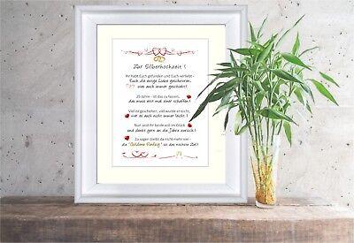 Zur Silberhochzeit - liebevoll gestaltetes Geschenk für das silberne Brautpaar