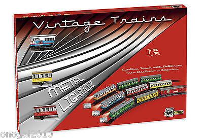 Tren Electrico de Juguete Vintage Metalico con luz 1 Locomotora 2 Vagones...