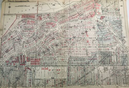 1927 Original Cleveland Heights Plat map. Lakeview Cemetery, Mayfield Cedar + +