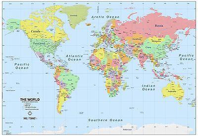 World Map Atlas,Geography,Political Poster Print  A0-A1-A2-A3-A4-A5-A6-MAXI 144