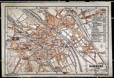 BAMBERG, alter farbiger Stadtplan, gedruckt 1906