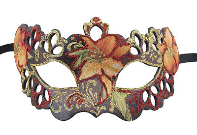 Mask from Venice Colombine Tutti Fruiti Black Red Florale in Paper Mache 2391