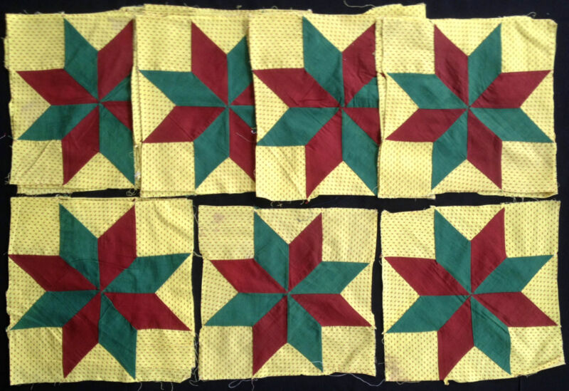 Antique 1870 Tiny Hearts Yellow Fabric Star Quilt Blocks