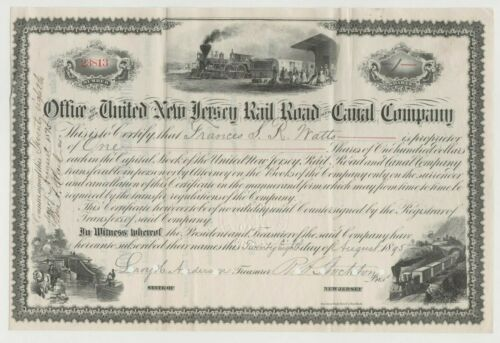1895 United New Jersey Railroad & Canal Company Stock Certificate