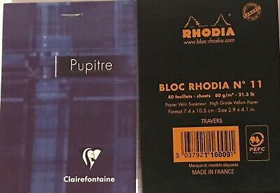 Rhodia Staplebound Notepad Black Lined 80 Sheets 3x 4 Clairefontaine Notepad 80