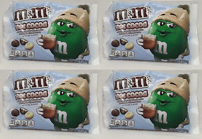 4 Bags m&m's HOT COCOA Milk & White Chocolate Candy Marshmallow Flavor 8 oz