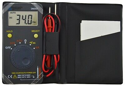 Pocket Size 1999 Count Auto Range Digital Multimeter With Case - Acdc To 600v