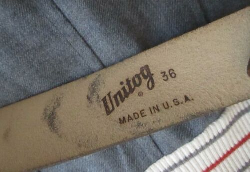 36 True Vintage 70s UNITOG MECHANIC BLACK LEATHER HOOK WORK BELT USA