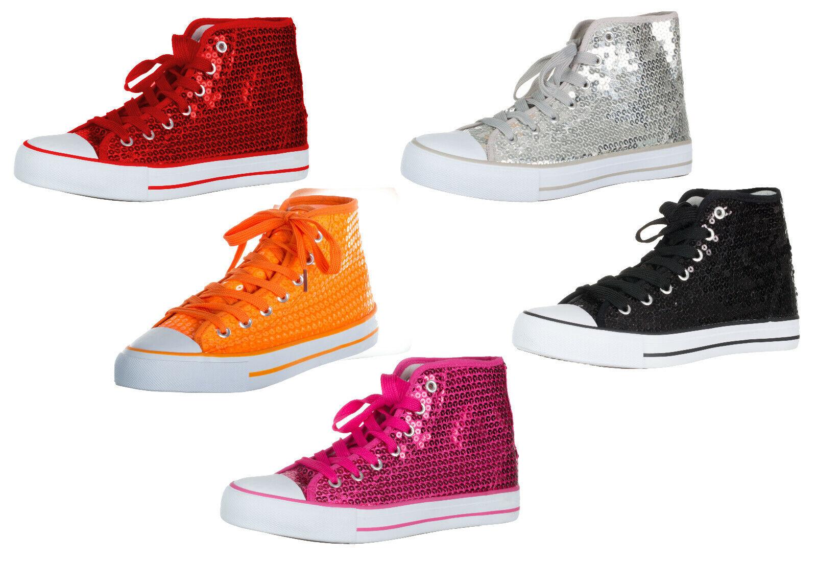 Brandsseller Damen Sneaker Pailletten Halbhoch/Damenschnürer/Damenboots