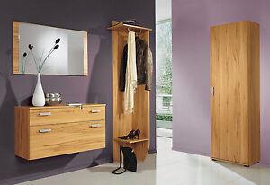 Garderobe 8003 Diele Flur Garderobenset Set mit Spiegel Wandgarderobe kernbuche