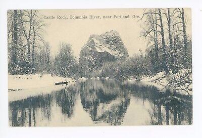 Castle Rock—Beautiful Water Reflection—Antique Portland OR Boat—Rowe Martin 1909
