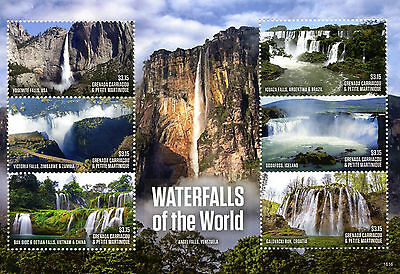 Grenadines of Grenada 2016 MNH Waterfalls of World Yosemite Falls 6v M/S Stamps