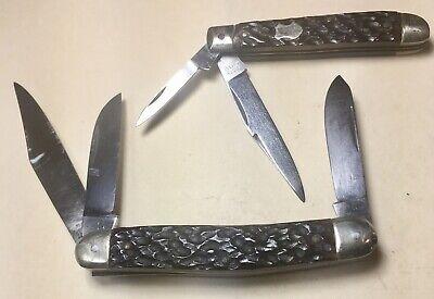 2 Vintage Unshrpnd Olsen Knife Co Germany Bone Premium & Stock Pocket Knife