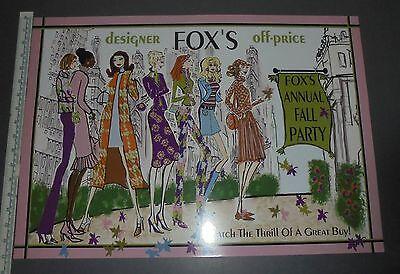 Original 1970's FOX'S Department Store Advertising Poster VINTAGE FASHION