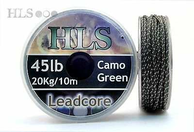 LEADCORE - 45lb Camo Green x 10m. Spooled lead core carp leader line - HLS