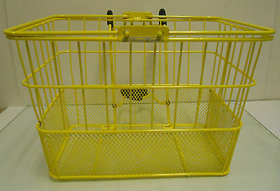 Bicycle Bike Front Lift Off Basket Mesh Mounting Bracket Dog Carrier YELLOW NEW