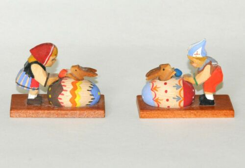 ERZGEBIRGE MINIATURE BOY & GIRL WITH EASTER EGG & BUNNY, PAIR