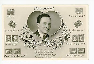 "Postzegeltaal ""Stamp Language"" RPPC Antique Dutch Photo—Netherlands Romance 1937"