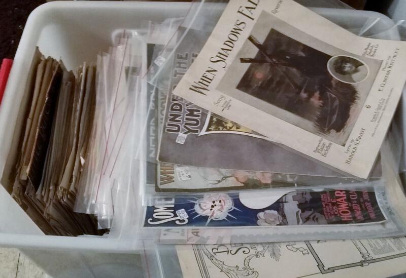 X200 Huge Lot Collection of 200 Random Antique Vintage Sheet Music 1900