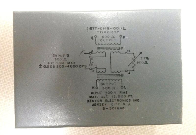 Kenyon Elec 677-0149-00-L Audio Transformer 900 ohm  to 600 / 600 out TFIRX16YY