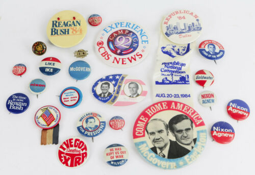 Lot of 20thC Presidential Political Pinback Buttons Pins Reagan Bush Nixon ETC