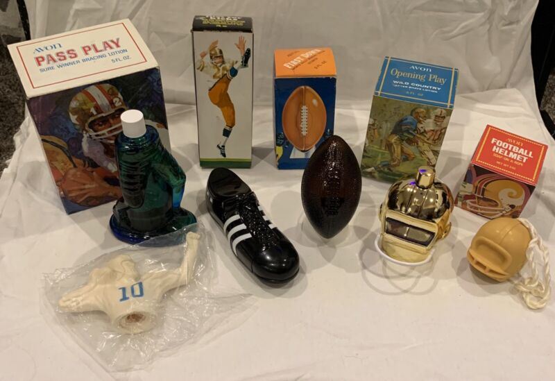 Lot of 5 Vintage Avon Football Themed Bottles After-shaves Soaps Mostly Full
