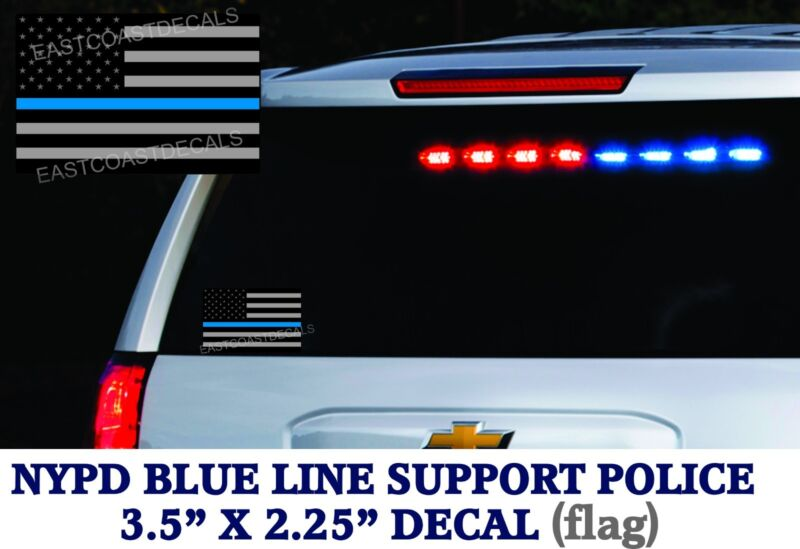 2 Flags Police Thin Blue Line Officers DECALS Sticker Subdued American Flag NYPD