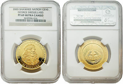 Click now to see the BUY IT NOW Price! SHAWNEE TRIBE 2003 GEORGE DROUILLARD $50 1/2 OZ GOLD COIN NGC PF 69