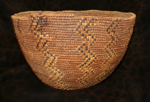 """Antique Oval Klickitat 19th Century Berry Basket 8""""h x 12 5/8""""w  - Some Damage -"""