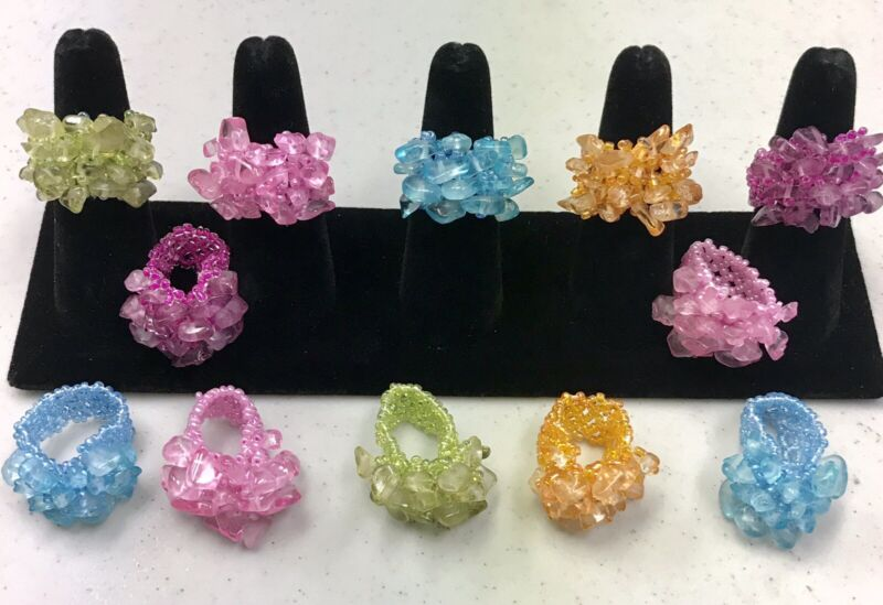Wholesale Gem Dangle Rings Seed Bad Stretch 12 Pieces
