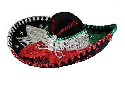 Adult Mexican Mariachi Hat Sombrero Charro Cinco de Mayo Tricolor (Cinco De Mayo Hat)