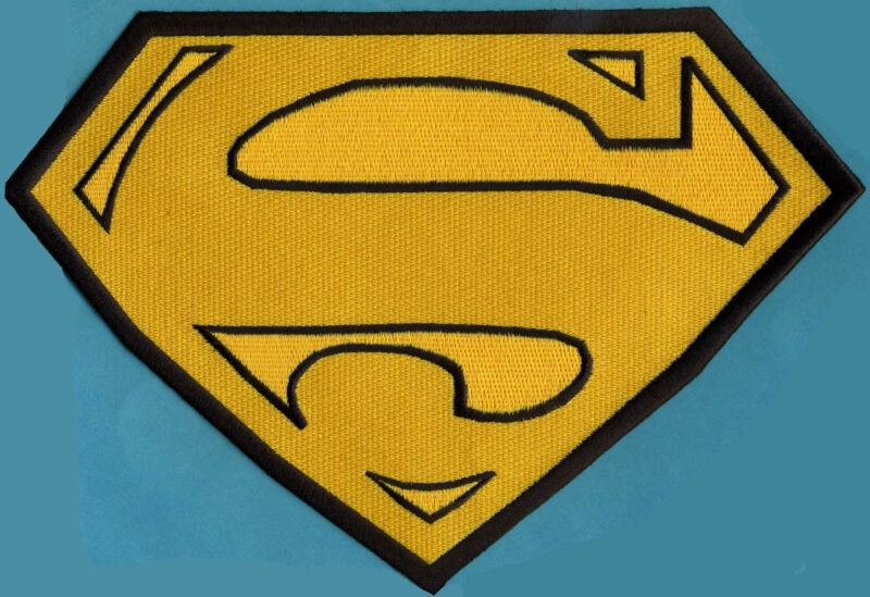 """7.8"""" x 11.8""""  X-Large Embroidered Superman Yellow & Black Cape Back Logo Patch"""