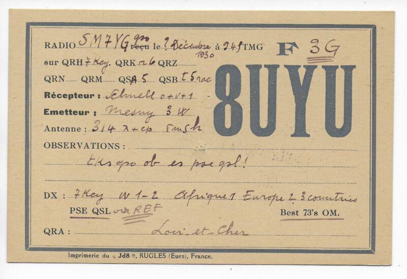QSL Radio Station 8UYU Loir et Cher France amateur ham 1930 with 3 Watts DX SWL