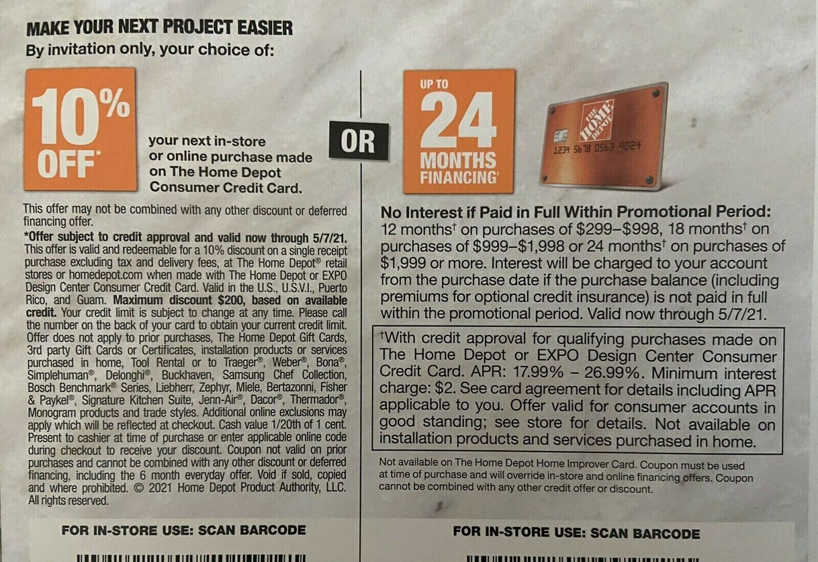 Home Depot Coupon 10 Off Expires 5/7/2021 In Store Or Online W/ Home Depot CC - $19.99