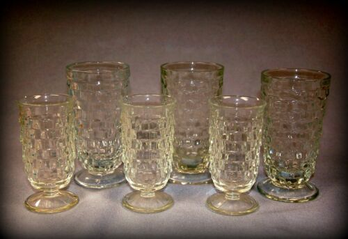 6 Tumblers, Lg & Sm Footed ~ Indiana Glass, Whitehall ~ Vtg Cube Cubist Glass
