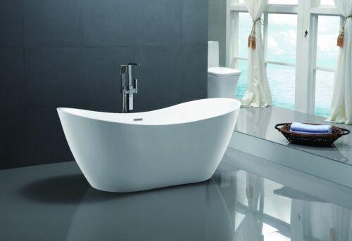 "71"" Vanity Art Bathroom Free Standing Acrylic Soaking Bathtub White VA6517"