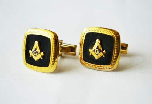 Vintage G MASONS Masonic Cufflinks Gold Tone & Black Enamel Freemasonry Patented
