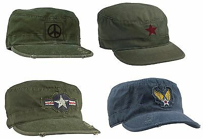 Vintage Fatigue Caps Military Air Corp Peace Sign Hippie Distressed Casual Hats Air Corp Fatigue Cap