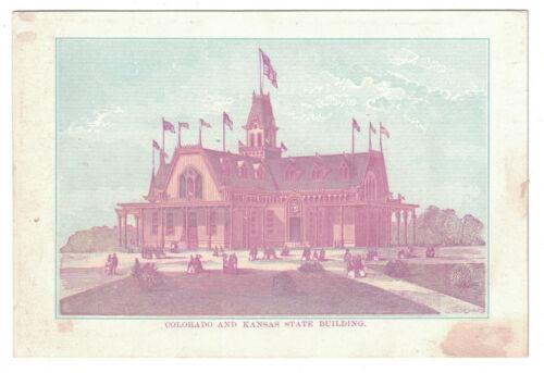 """1876 Centennial Exhibition Card -- Colorado & Kansas Building - 5 3/8"""" x 4 3/8"""""""