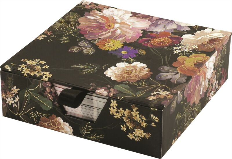 Victorian Trading Co Midnight Floral Desk Notes Pad & Box