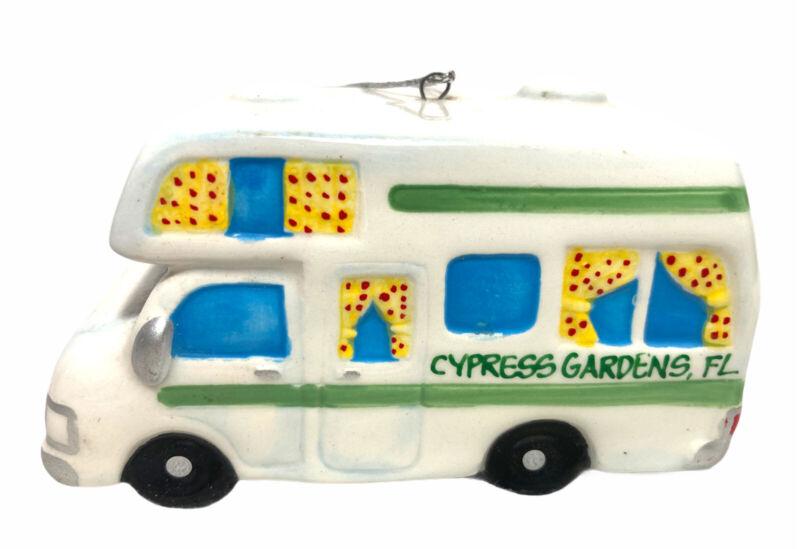 VTG Cypress Gardens Florida Souvenir Christmas Camper RV ceramic ornament EUC