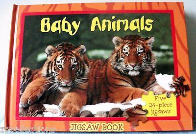 Jigsaw puzzle Book Baby Animals 5 puzzles Hard/Board Book Home/Preschool quiet