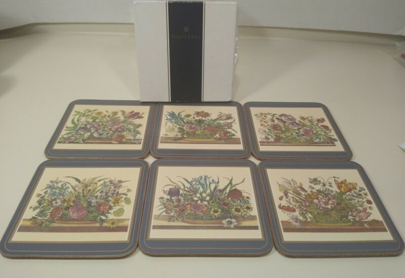 Set Of 6 Pimpernel Traditional Cork Back Coasters ~ Flowers Bouquets~ W/ Box