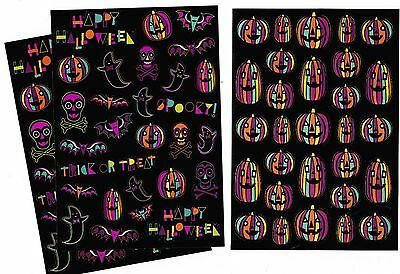 Coloring Sheets Halloween (3 Sheets Halloween Stickers! Colorful Shiny Jack o Lanterns Skulls Ghosts)