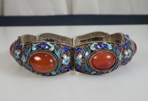 Chinese Export Silver Filigree Carnelian Bracelet  -  56662